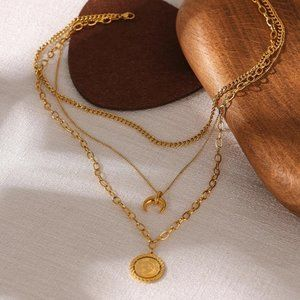 NEW 18K Gold Plated Lion Coin Horn Moon Triple Layer Link Chain Necklace